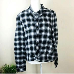 🌹Aeropostale Women's Sz L Plaid Belly Tie Shirt